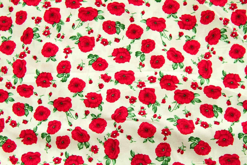 Rainbow Fabrics FL: Red Winter Rose White White Craft Fabric