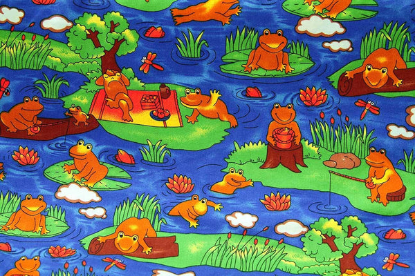 Rainbow Fabrics Happy Frogs Multi Coloured Craft Fabric