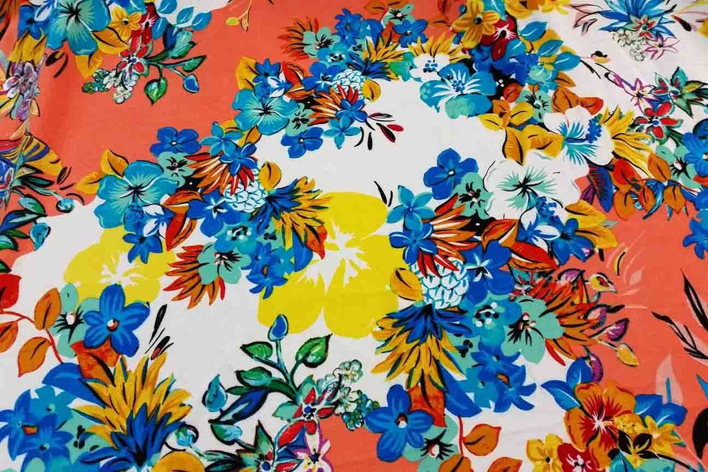 Rainbow Fabrics Hawaiian Flowers Rayon