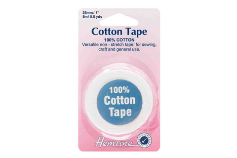 HY: 25mm White Cotton Tape