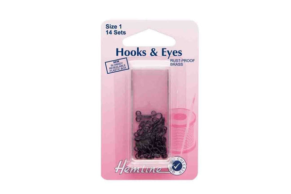 Rainbow Fabrics HY: Hooks and Eyes - Black