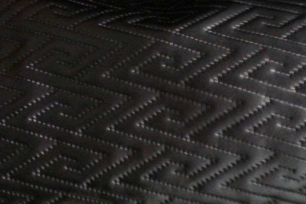 Rainbow Fabrics LE: Jagged Sawtooth Black Padded Leatherette Leatherette
