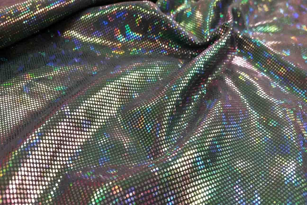 Rianbow Fabrics LF: Liquid Foil Spandex - Hollogram Specs on Dark Grey - 19