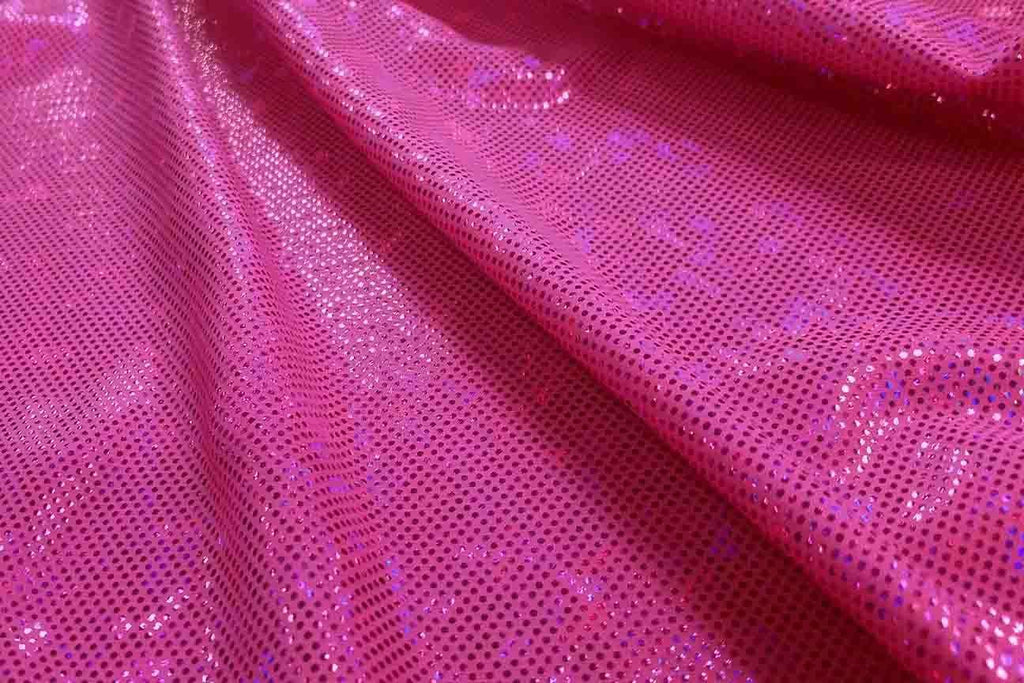 Rianbow Fabrics LF: Liquid Foil Spandex - Hollogram Specs on Dark Pink - 20