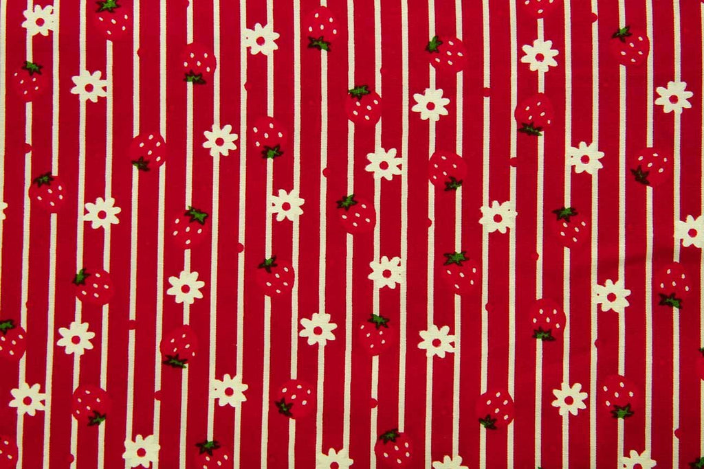 Rainbow Fabrics Lines and Strawberries Red Red Craft Fabric