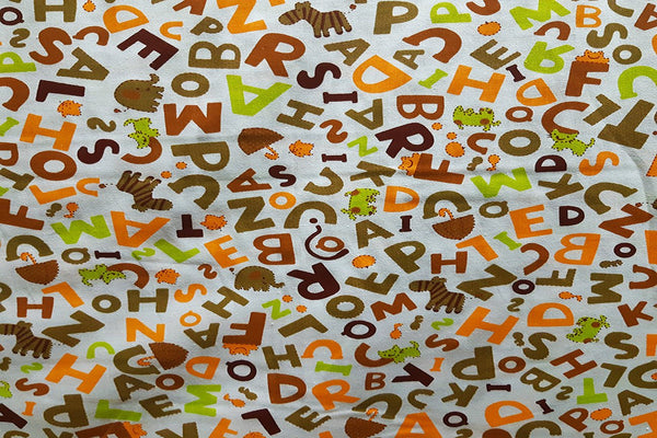 Rainbow Fabrics Multi Color Letter Abstract Printed Cotton