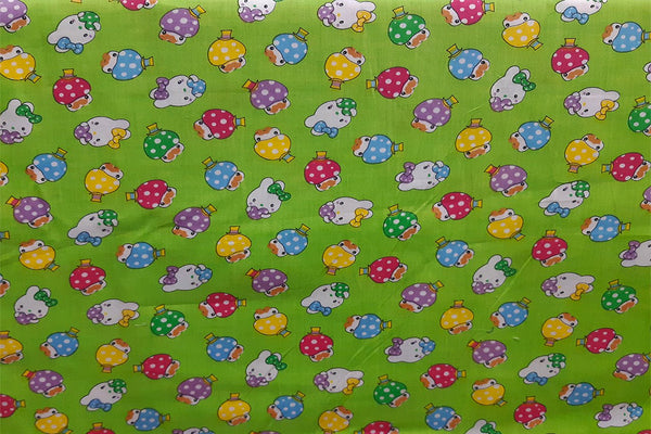 Rainbow Fabrics Mushroom Lights On Apple Green Printed Cotton