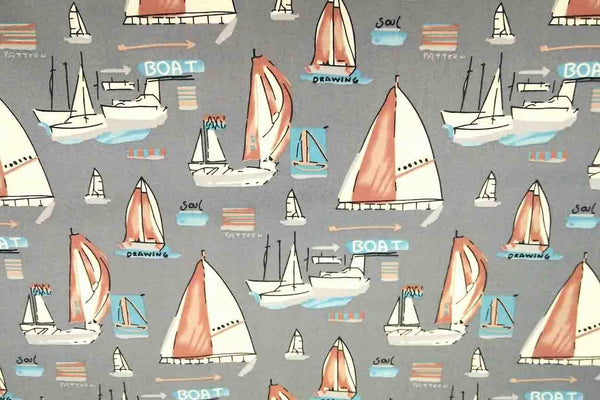 Rainbow Fabrics NP: Grey Boats Patchwork Fabric Multi Coloured Craft Fabric