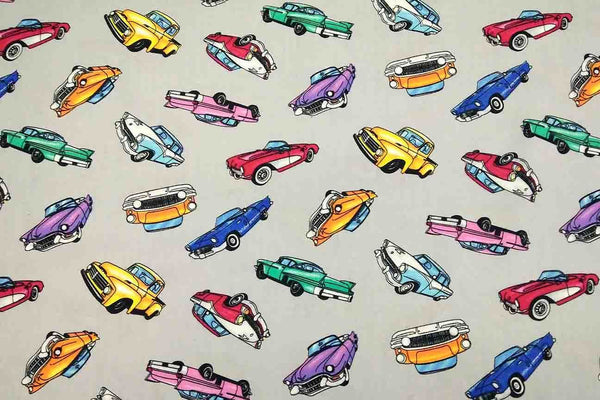 Rainbow Fabrics NP: Grey Cars Patchwork Fabric Multi Coloured Craft Fabric