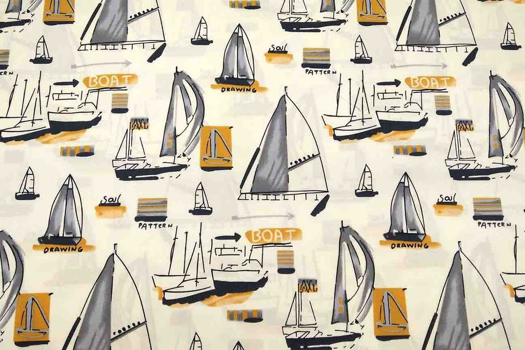 Rainbow Fabrics NP: Ivory Boats Patchwork Fabric Multi Coloured Craft Fabric