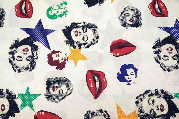 Rainbow Fabrics NP: Marilyn Monroe Patchwork Fabric Multi Coloured Craft Fabric