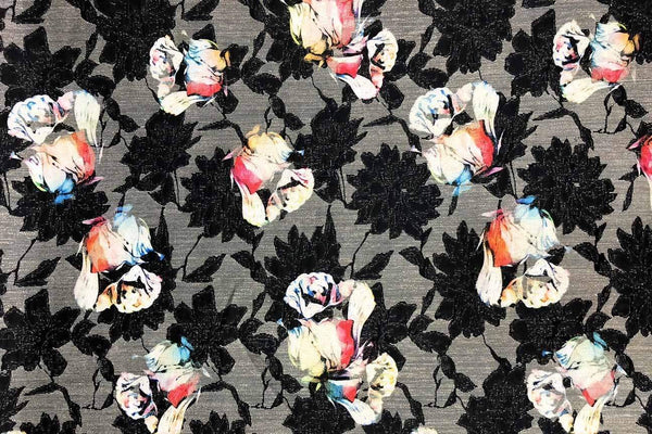 Rainbow Fabrics PB:  Colorful Roses On Black Polyester Brocade