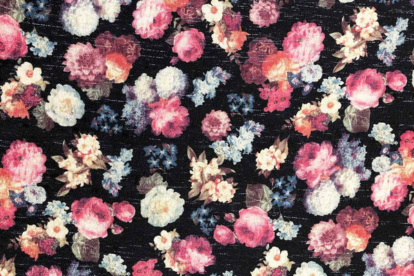 Rainbow Fabrics PB:  Elegant Floral On Black Polyester Brocade