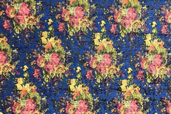 Rainbow Fabrics PB: Floral Bunch on Blue Polyester Brocade