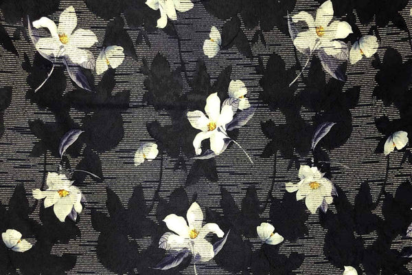 Rainbow Fabrics PB: Frangipani on Navy Polyester Brocade