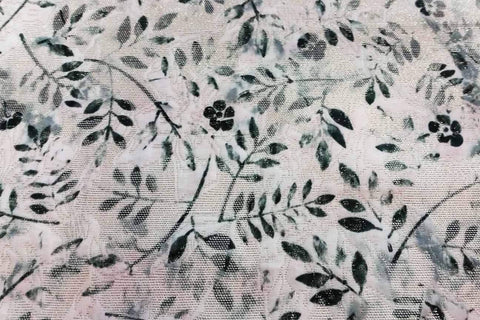 PB:  Green Leaves On White Gold Metallic Polyester Brocade