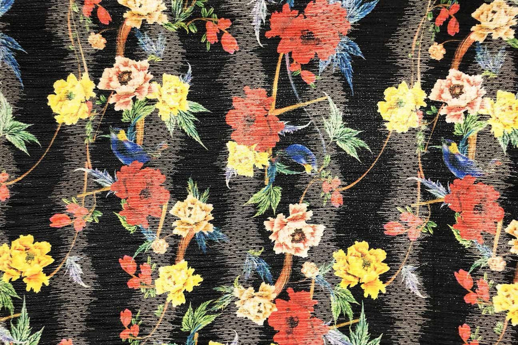 Rainbow Fabrics PB:  Hibsicus on Black Polyester Brocade