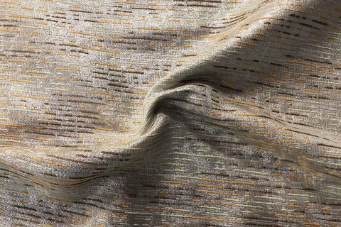 PB:  Orange and Brown Stripes On Silver Metallic Polyester Brocade