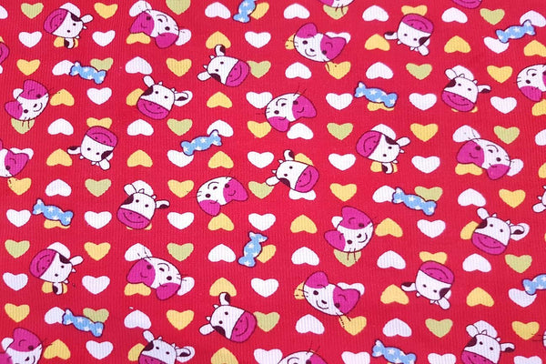 Rainbow Fabrics PCC: Cows Love Cats Pinwale Cotton Cord Pinwale Cotton Cord