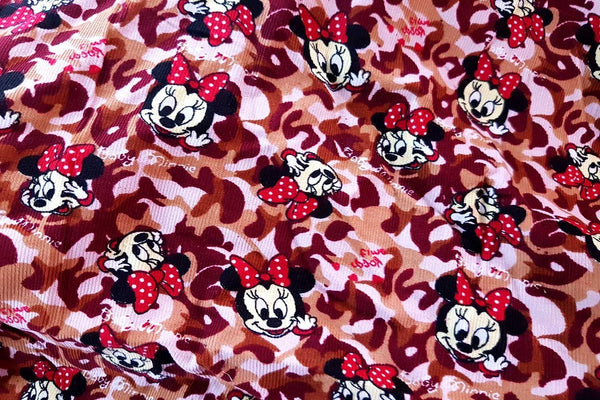 Rainbow Fabrics PCC: Minnie Mouse Leopard Print Pinwale Cotton Cord Pinwale Cotton Cord