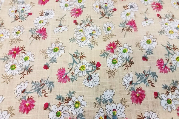 Rainbow Fabrics PCL: Wild Daisy on Light Yellow Cotton Linen Rayon