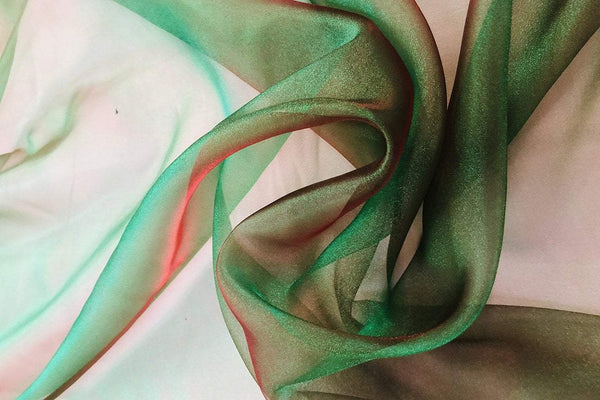 Rianbow Fabrics PCO: Dark Green With Red Reflection Crystal Organza # 27 Plain Crystal Organza