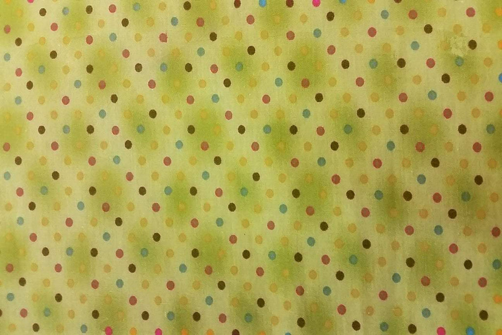 Rainbow Fabrics PCP2:  Colourful Dots on Lime Green Printed Cotton