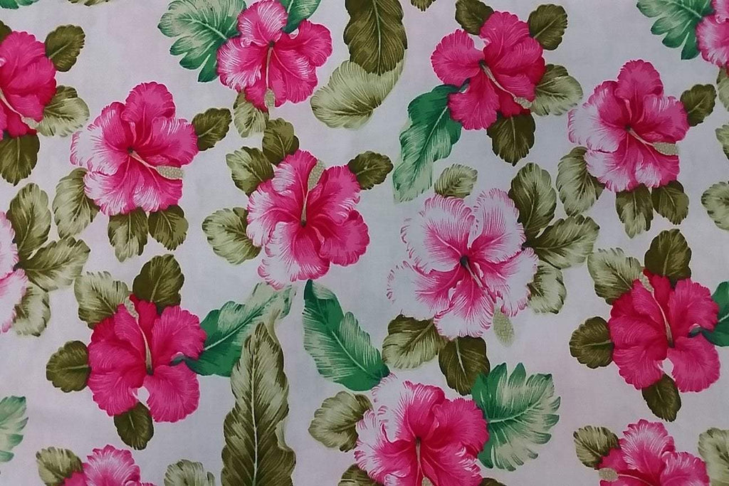 Rainbow Fabrics PCP2:  Hibiscus on Off White Printed Cotton