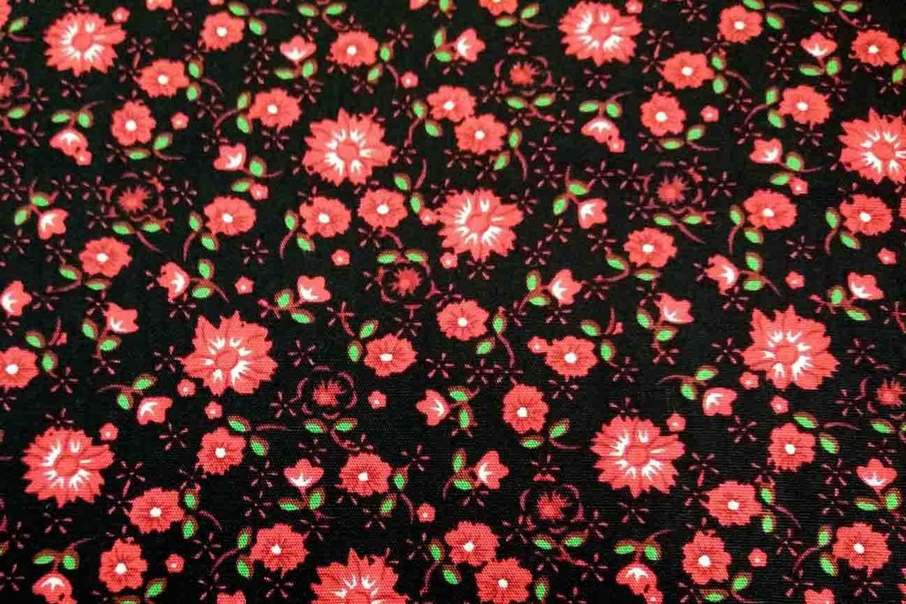 Rainbow Fabrics PCP2: Red Daisy on Black Printed Cotton Poplin