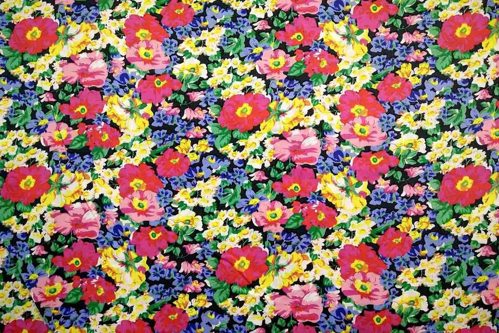 Rainbow Fabrics PCP2: Red Floral Abstract Printed Cotton Poplin