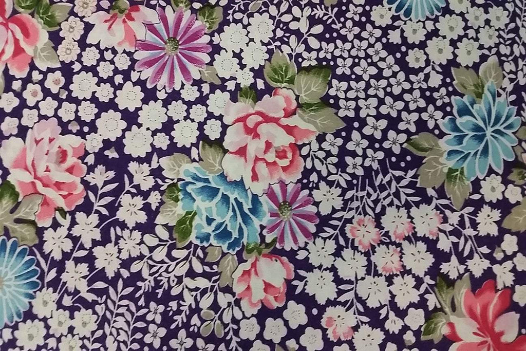 PCP2:  Succulent on Purple Printed Cotton_SOLD OUT