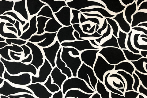 PL: White Rose Abstract on Black Lycra / Spandex
