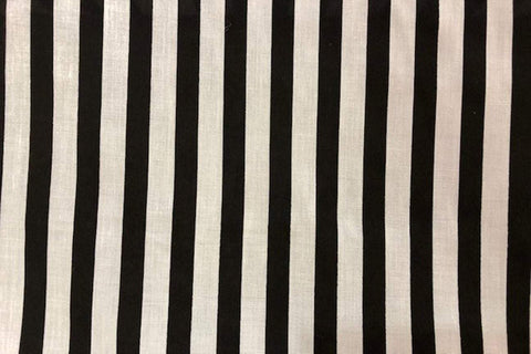 PP: Black and White Stripes Printed Poly Cotton