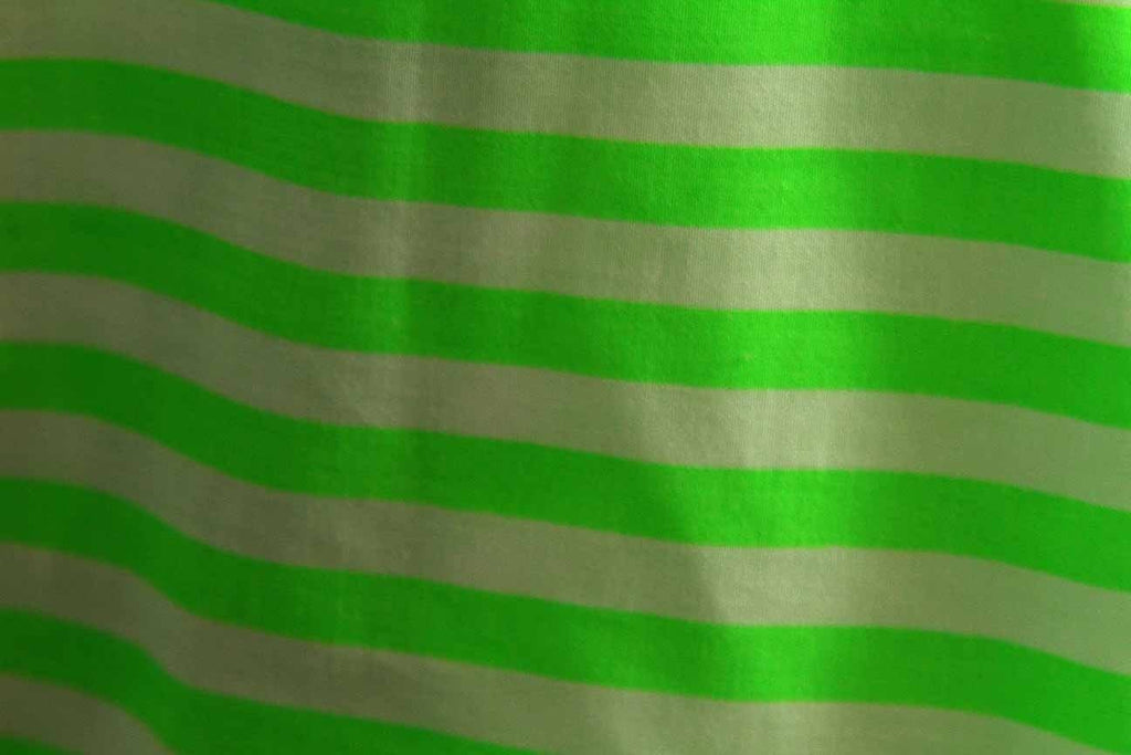 Rainbow Fabrics PP: Green and Brown Stripes Printed Poly Cotton Multi Coloured