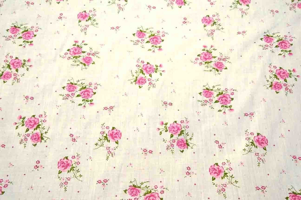 Fabric Polycotton Material Pink Floral