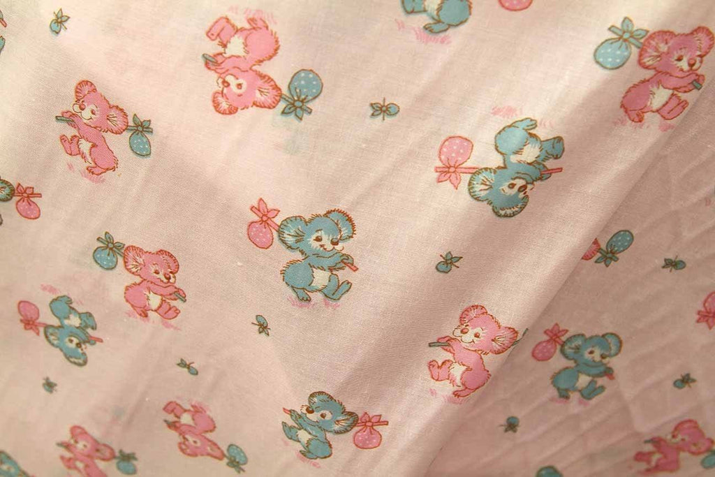 Rainbow Fabrics PPC: Pink and Blue Koala's Printed Cotton Poplin Multi Coloured