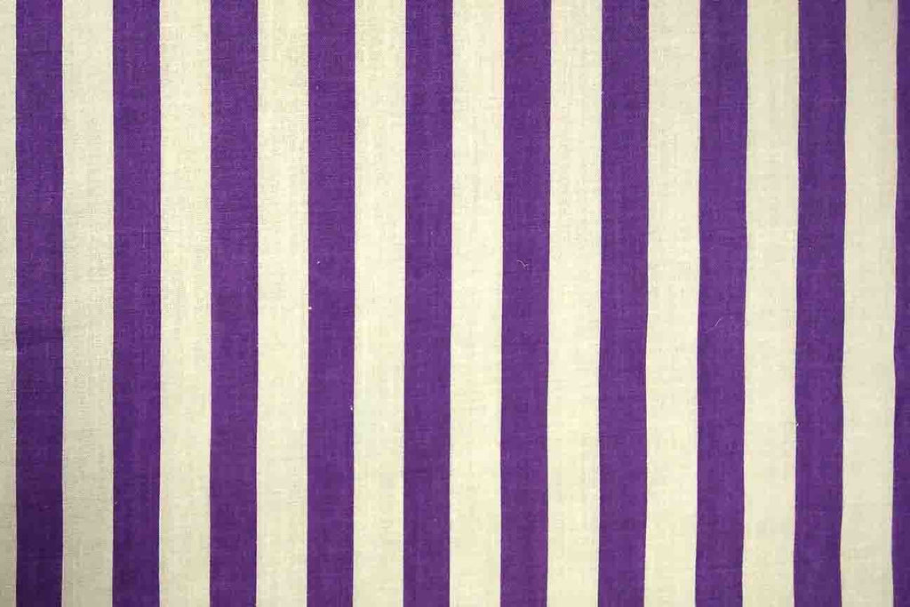 Rainbow Fabrics Purple and White Stripes Printed Poly Cotton Multi Coloured
