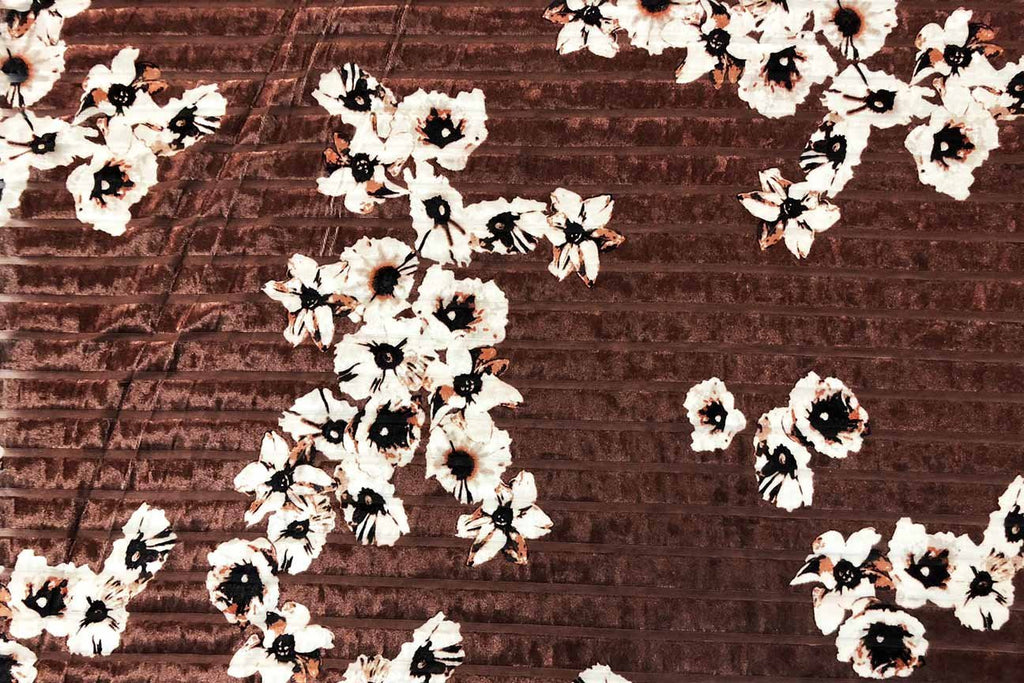 Rainbow Fabrics PV: Cherry Blossom on Red Brown Deluxe Stretch Printed Velvet