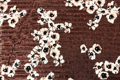 PV: Cherry Blossom on Red Brown Deluxe Stretch Printed Velvet
