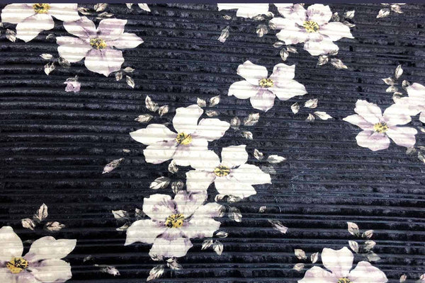 Rainbow Fabrics PV: Frangipani on Navy Blue Deluxe Stretch Printed Velvet