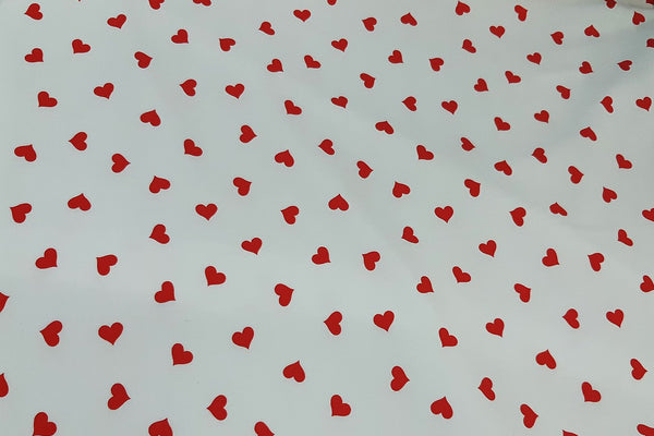 Rainbow Fabrics Red Hearts On Pure White Patchwork / Craft Fabric Blue Craft Fabric