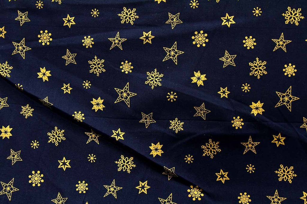 Rainbow Fabrics S1: Gold Winter Stars on Black Black Craft Fabric