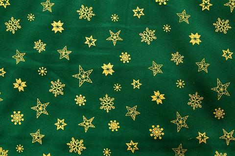 S1: Gold Winter Stars on Green Patchwork / Craft Fabric