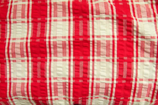 Rainbow Fabrics S1: Red and White Check Multi Coloured