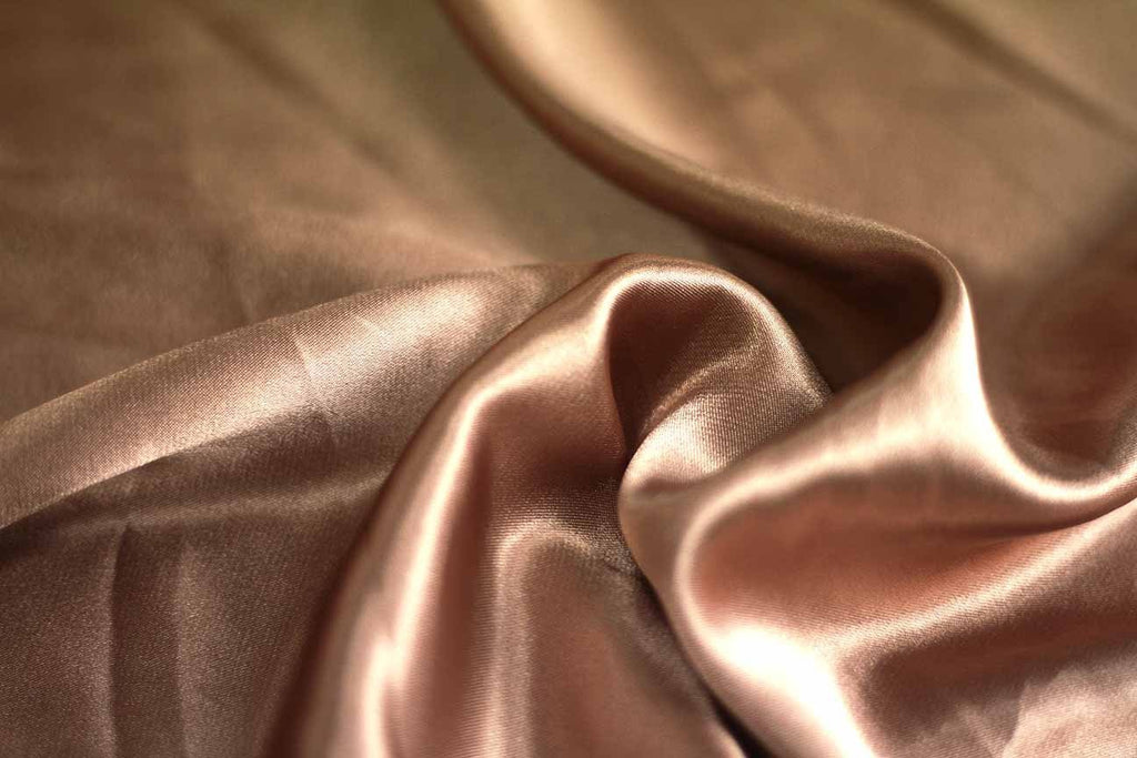 Rainbow Fabrics SA: Caramel Cream Stretch Satin Brown Fabric