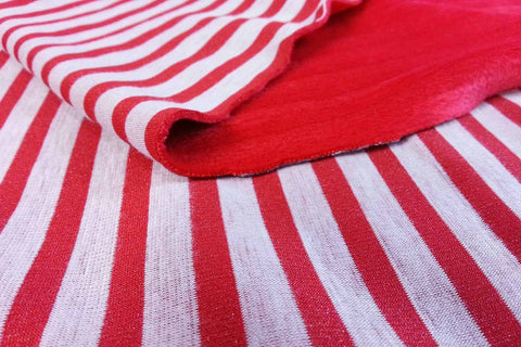 SPF: Red and Off White Stripe Sapphire Plush Fleece