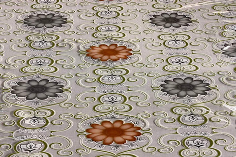 TP:  Grey and Brown Flower Table Protector