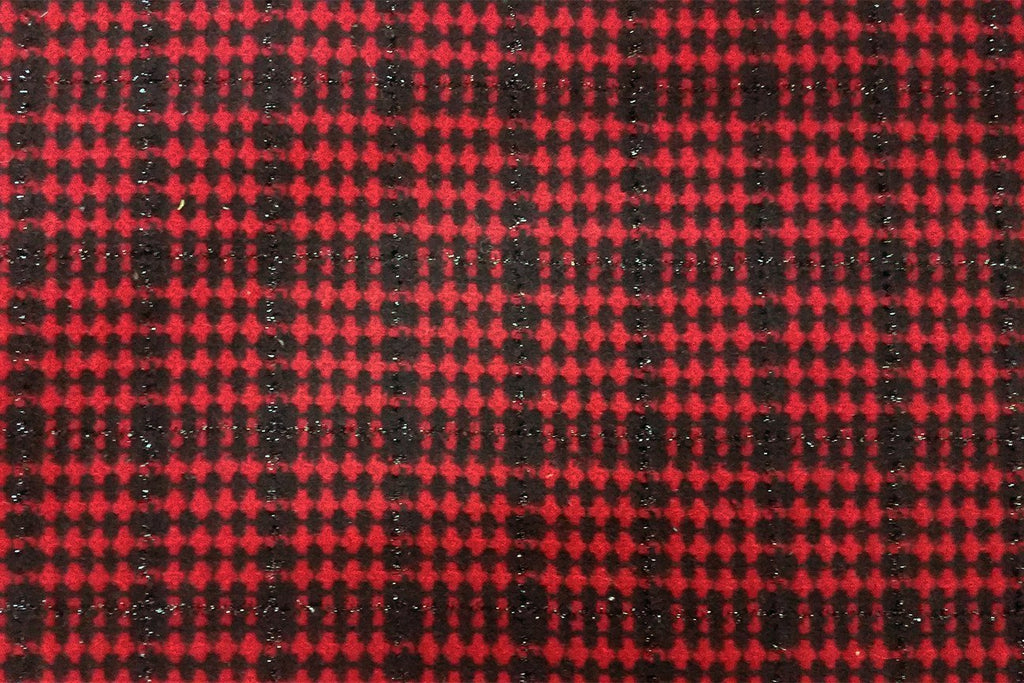 Rainbow Fabrics WF: Glitter String on Black and Dark Red Check Tartan Wool
