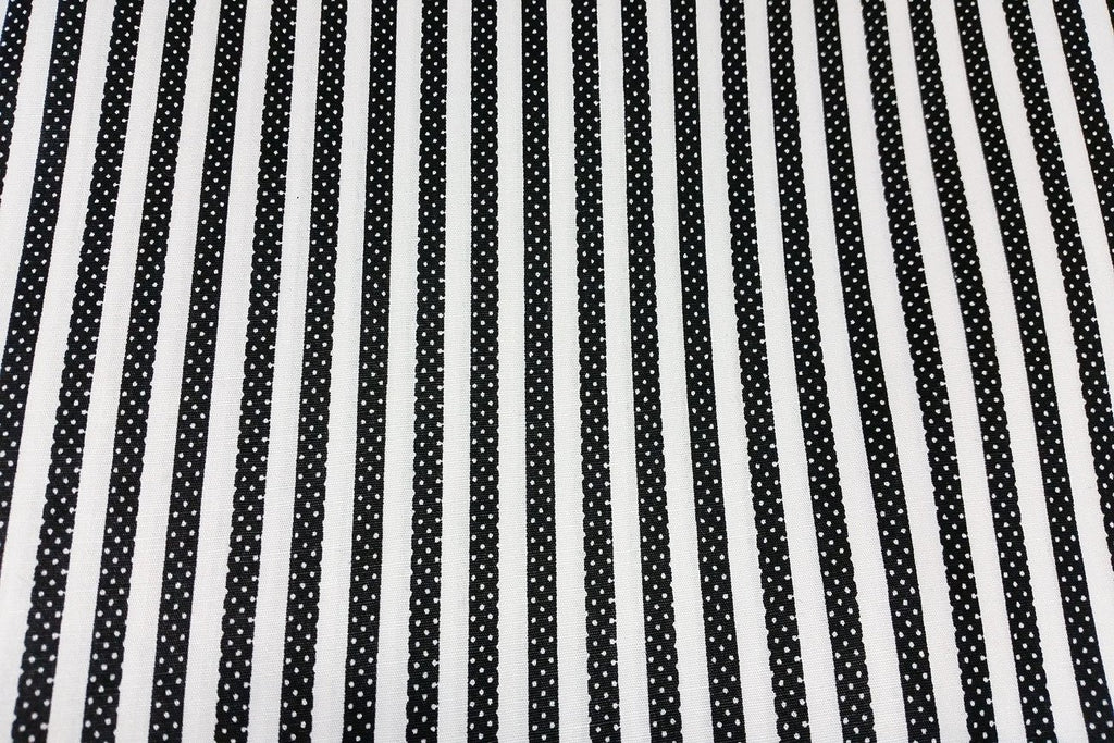 Rainbow Fabrics White and Black Stripe Black Craft Fabric
