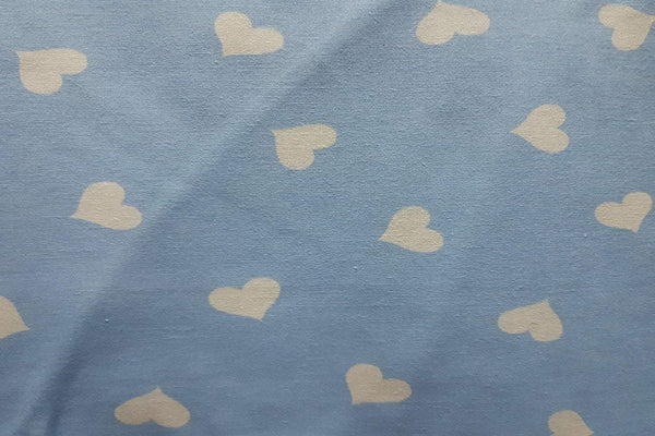 Rainbow Fabrics White Hearts On Sky Blue Patchwork / Craft Fabric Blue Craft Fabric